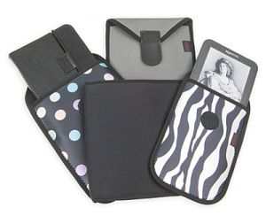 Choose from four neoprene patterns or several art prints for your custom pouch!